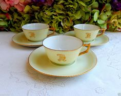 3 Beautiful Vintage Limoges Porcelain Hand Painted Demitasse Cups & Saucers Gold #Limoges