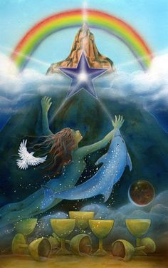 The Star Tarot - Cathy McClelland - This is a deck in progress. The Majors have been completed and the Minors are in process. One of the most exciting and beautiful decks I have seen. This is the Eight of Cups.