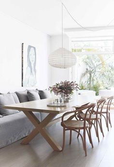 **Dining area** Louisa and Ryan are big entertainers, so a oak 'X Table' and 'Le Corbusier' chair Dining Nook, Dining Room Lighting, Round Dining Table, Dining Room Design, Dining Room Table, Table And Chairs, Dining Chairs, Light Oak Dining Table, Table Bench