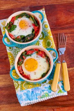 Oven-Baked Egg with Spinach & Bacon
