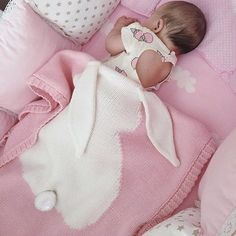 Pink Infant Bunny Blanket Hot Nordic Design Easter Baby Shower Gifts Keepsake Coming Home Newborn Girl's Nursery & Accessories Gift Bunny Blanket, Pink Baby Blanket, Wool Blanket, Crib Blanket, Baby Lovey, Cotton Baby Blankets, Knitted Blankets, Cotton Bedding, Baby Bedding