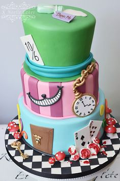 Alice in Wonderland themed cake by K Noelle Cakes