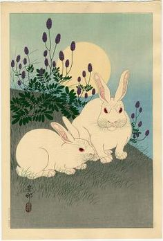 """Hoson  Two Rabbits beneath the Full Moon-today's fortune reads """"If you chase two rabbits, both will escape""""."""