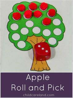 Letter M Discover Apple Roll and Pick Apple Roll and Pick . one of our favorite math activities for our apple unit. Preschool Apple Theme, Fall Preschool, Preschool Themes, Kindergarten Math, Learning Activities, Toddler Activities, Preschool Activities, Math Resources, Tree Study