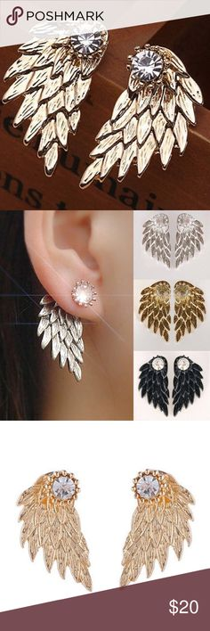 Gold Double Sided Stud Earrings Crystal Rhinestone Angel Wings Double Sided  Stud Earrings. Color is Gold. Jewelry Earrings