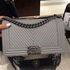 Chanel Grey Micro Chevron Boy Bag - Prefall 2014