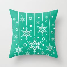 Let it Snow...(Emerald) Throw Pillow by Lisa Argyropoulos - $20.00