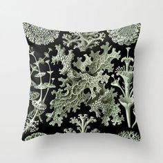 Pretty coral formations from a Ernst Haeckel vintage science illustration featuring ocean sea life make this 18 x 18 pillow one of a kind.  *18 X 18 Throw pillow cover from 100% faux linen, individually cut and sewn by hand. Features double sided print with a concealed zipper. Made to order, please allow 1-2 weeks for delivery. Each pillow includes a complimentary insert! Please remember colors may vary slightly depending on your computer monitor