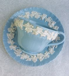 WEDGEWOOD Vintage Tea Cup and Saucer/ Embossed Queensware/ Blue and White Teacup