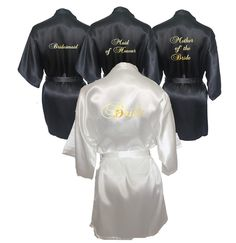 White & Black Set of 2 Bridal Robes...Bridesmaid Robe...Mother of the Bride Robe...Maid of Honour Robe...Robe Set...Bridal Party Robe Set by BridalDelightsAus on Etsy