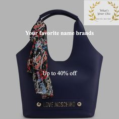 Love Moschino scarf shopper tote bag in blue a62ee771de918