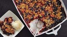 A twist on apple crisp but with strawberries and blueberries. Perfect for early summer when fresh berries are in season and usually on sale.