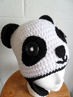 Panda Hat with Ear Flaps  Halloween Cuteness  by LilacsLovables, $30.00