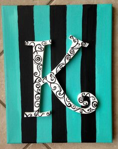 Initial in Stripes-- 11 x 14 Canvas on Etsy, $20.00