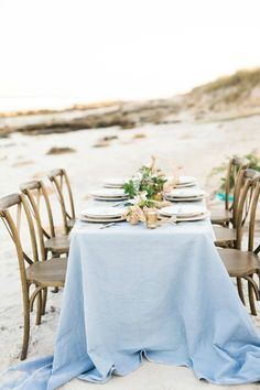 Beach, Mermaid Wedding - Table Set-Up Nantucket Wedding, Seaside Wedding, Romantic Weddings, Beach Weddings, Blue Wedding, Wedding Aniversary, Beach Wedding Locations, Romantic Wedding Inspiration, Wedding Reception Decorations