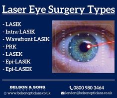 Checkout out seven different types of laser eye surgery available so far. As an opticians London, we expect that more procedures will be introduced as new technologies emerge. Laser Eye Surgery, Types Of Surgery, Types Of Eyes, The Retina, Eyes Problems, Eye Drops, Eye Treatment, Optician, London