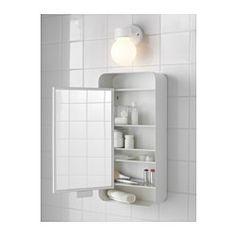 IKEA - GUNNERN, Peilikaappi 1 ovi, valkoinen, , Korotettujen reunojen ansiosta tavarat pysyvät hyvin hyllyillä.Peilin taustapuolella on suojakalvo, joka vähentää loukkaantumisriskiä, jos peili rikkoutuu.
