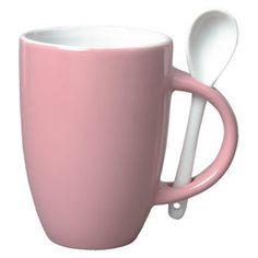 Pink Ceramic Mug with Spoon Ceramic 12 ounce 4 piece Set
