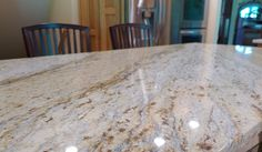 Granite kitchen island provided by Accent Interiors in SLC. Granite Kitchen, Granite Countertops, Kitchen Island, Slc, Backsplash, New Homes, Dining Table, Interiors, House