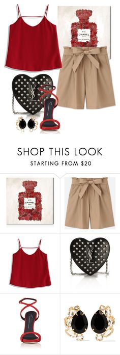 """""""Red"""" by angelina-nota ❤ liked on Polyvore featuring Oliver Gal Artist Co., Uniqlo, Chicwish, Yves Saint Laurent, Giuseppe Zanotti and Bounkit"""