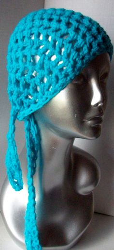 Crocheted Bandana Hair Scarf Retro Fashion by CalcedoniaDesign, $9.99