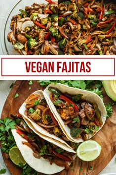 Vegan fajitas are an easy vegan dinner recipe that is familiar and easy to customize! Vegan Fajita Recipes, Vegan Fajitas, Vegan Mexican Recipes, Vegan Dinner Recipes, Vegan Recipes Easy, Raw Food Recipes, Vegetarian Recipes, Cooking Recipes, Recipes