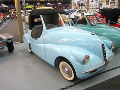 1947 A.L.C.A. Volpe. Introduced in Italy as an even *smaller* alternative to the Fiat 500, the Volpe (fox) was met with much enthusiasm by the Italian Press. Despite many pre-orders and pre-payments no completed Volpes were apparently delivered. The car was also pre-sold and marketed in Spain as the Hispano-Volpe. While expected to have a 125cc motor, none were probably installed and this car stays true to the Volpe as it was manufactured: It also has No Motor.