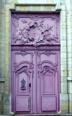 The front door may be an ideal means to reveal the attractiveness of a house. As such it's necessary to have an ideal door design that appeals to guests. Although a traditional front door will serv… Cool Doors, Unique Doors, The Doors, Windows And Doors, Gates, Purple Door, Porte Cochere, When One Door Closes, Knobs And Knockers