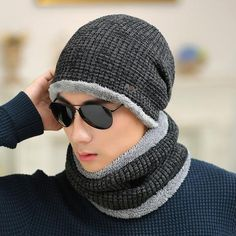 Men's Knitted Winter Beanies + Collar Scarf  For Men - Blue/Black/Khaki/Red/Grey  Skullies & Beanies For Men   Men's Fashion 2017 Guys Winter Fashion Casual Menswear Cool Style Gift Knit Products Website Store Shop Buy Sell Sale Online Shopping mens Accessories fall autumn