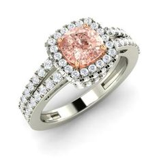 Cushion-Cut 14k White Gold Morganite Halo Ring with SI Diamond