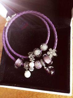 50% OFF!!! $259 Pandora Leather Charm Bracelet Purple White. Hot Sale!!! SKU: CB01630 - PANDORA Bracelet Ideas