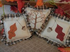 Primitive Pillow Tucks Fall Bowl Fillers Fall Leaves Acorns Autumn Tree Hand Painted by auntiemeowsprims on Etsy