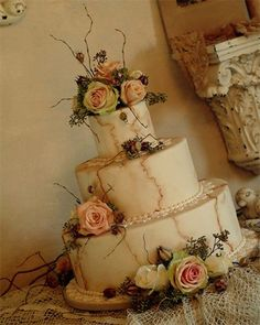 Vintage garden wedding cake. Love it. How perfect, I love the faux marble and how the flowers, sticks and berries look like they came right out of a rose garden transitioning into spring