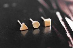 Dot stud earrings ROSE GOLD stainless steel by RabbitsFantasyWorld