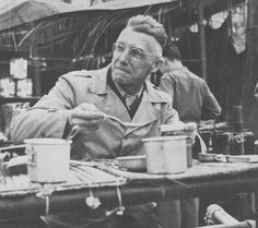 General Joseph Stilwell eating C-rations for Christmas, 25 Dec 1943 (US Army photo)