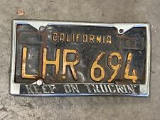 Vintage Keep On Truckin Novelty License Plate Frame Chevrolet Ford