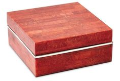 Red Coral Box w/ Sterling Silver