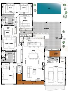 This plan has just about everything. It's modern, huge and suits the family who love to entertain. The bedrooms are down one side, with the...