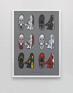 The Ideal prints for sneakerheads. Illustrated kicks by Dan Freebairn. Sneakers Wallpaper, Shoes Wallpaper, Pop Art Wallpaper, Jordan Retro 4, Jordan 4, Jordan Painting, Zapatillas Jordan Retro, Sneaker Posters, Supreme Art
