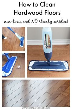 How to Clean Hardwood Floors that's non toxic and leaves no streaky residue. See these helpful floor cleaning tips and FREE Cleaning Checklist Printable! #KeepItClean #sp