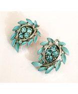 Blue Enamel Earrings with Rhinestones, Lisner Designer Clip Ons, Vintage... #vogueteam  - $37.00