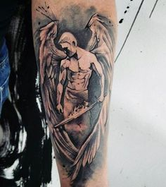 Mens Forearms Handsome Guardian Angel Tattoo