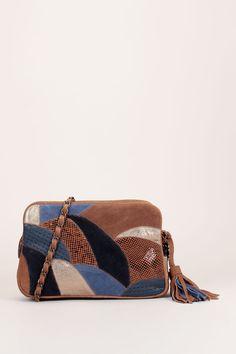 Besace en cuir nubuck marron patchwork bleu reptile perforé Ettore a6665d404eae