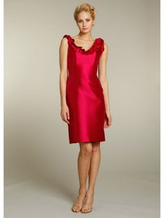 A-line Scoop Knee Length/Short Red Satin Bridesmaid/Homecoming/Graduation/Wedding Party Dresses