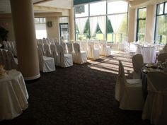 Floor to ceiling windows on a bright and sunny day in our Crystal Room.