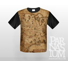 Fantasy styled map of United States of America on your t-shirt!