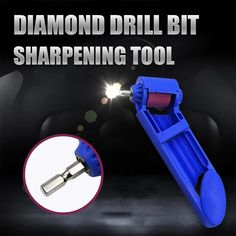 Diamond Drill Bit Sharpening Tool, great quick and easy way to sharpen drill bits. Use your drill to rotate the 100 grit grindstone and simply press the bit against it for a sharp edge. You will have to do this twice for each drill bit for both edges. Homemade Tools, Diy Tools, Hand Tools, Carpentry Tools, Woodworking Tools, Drill Bit Sharpening, Drill Bit Sizes, Metal Working Tools, Wood Working