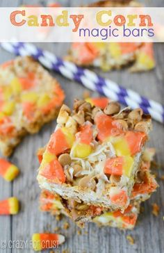 Candy Corn Magic Bars have a graham cracker crust and are topped with white chocolate and peanut butter chips and candy corn; perfect for Halloween!