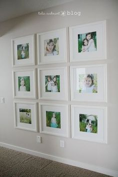 Love the frames and spacing. Link through this post to show how to hang photos without nails and spaced evenly!
