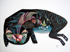 Olivier Vrancken - Cradle. Mixed media on paper, 40 x 30cm [Tumblr Monday with oxane]